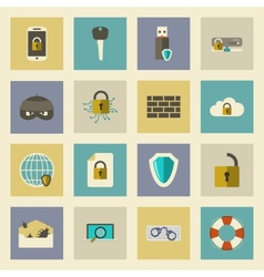 Cyber defense flat icons set vector image vector image