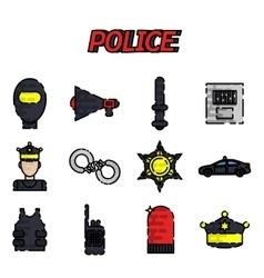 Police flat icon set vector image