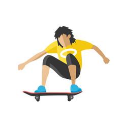 skateboarder jump doing trick skate park extreme vector image