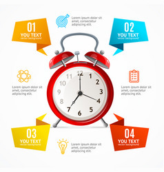 alarm clock menu infographic option banner card vector image vector image
