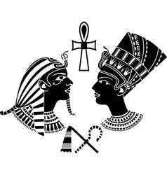 ancient egypt king and qeen vector image vector image