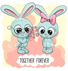 cute cartoon rabbits boy and girl vector image vector image