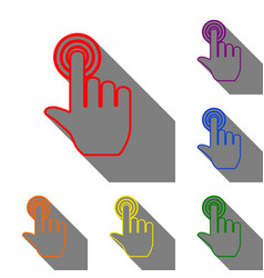 hand click on button set of red orange yellow vector image