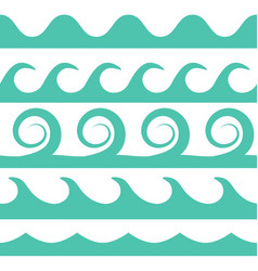 turquoise waves set on white background vector image vector image