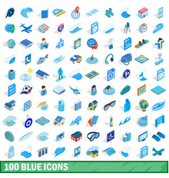 100 blue icons set isometric 3d style vector