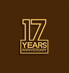 17 years anniversary design line style vector