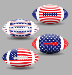 american football ball with flag usa isolated vector image