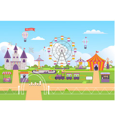 amusement park funny outdoor entertainment vector image
