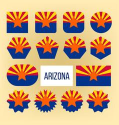 arizona flag collection figure icons set vector image