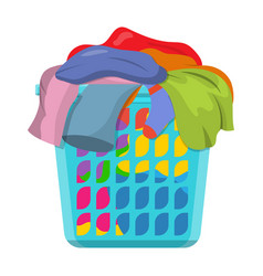 Basket with linens vector