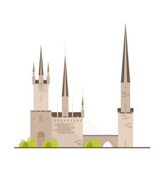 beautiful fairytale castle or medieval fortress vector image