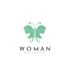 beauty butterfly wings woman face silhouette logo vector image