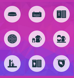 beverages icons set with poster pub book drink vector image