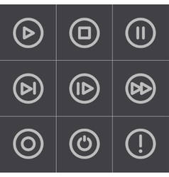 black media buttons icons set vector image