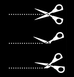 black set scissor icons with points vector image