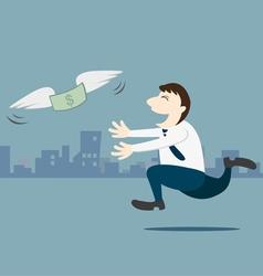 Business man running follow the money vector image