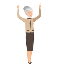 Business woman standing with raised arms up vector