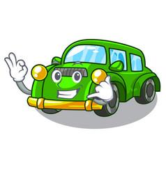Call me classic car toys in cartoon shape vector