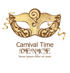 carnival glitter mask masquerade party vector image