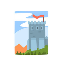 cartoon landscape with magnificent castle vector image