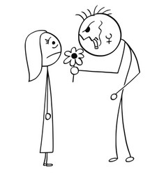 Cartoon of surprised young woman on date with vector