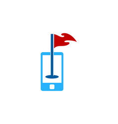 cellphone golf logo icon design vector image