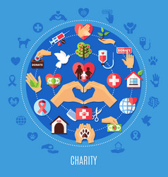 Charity icons round composition vector