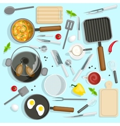 Chef Workplace Top View Set vector image