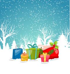 christmas greeting background winter landscape vector image