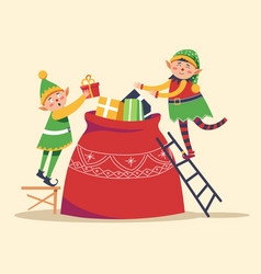 christmas winter holiday elves getting ready vector image
