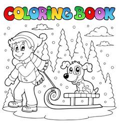 Coloring book winter theme 1 vector