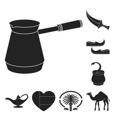 country united arab emirates black icons in set vector image