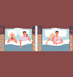 Couple people sleeping poses in bed vector