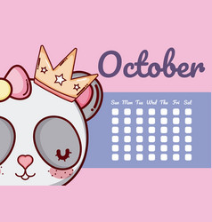 Cute calendar with animals vector