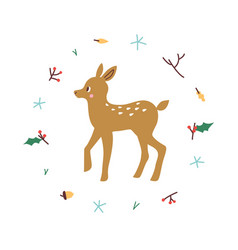 cute deer minimalistic design vector image