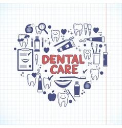 Dental care symbols in shape heart vector