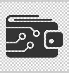 digital wallet icon in flat style crypto bag on vector image