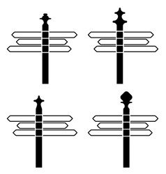 directional signpost silhouettes vector image