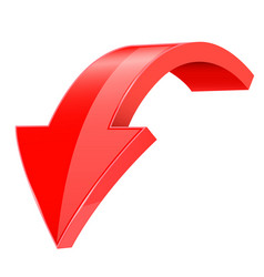 Down 3d arrow red sign with reflection vector