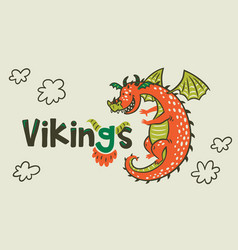 dragon print vikings age vector image