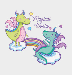 Dragons in magical world man with sunglasses and vector