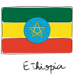 Ethiopia flag doodle vector image