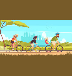family bicycle ride cartoon vector image