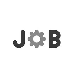 flat design style concept of job text with gear vector image