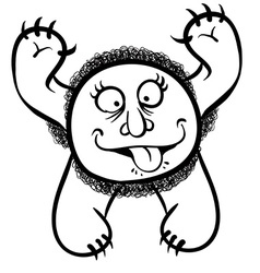 Foolish cartoon monster black and white lines vector image