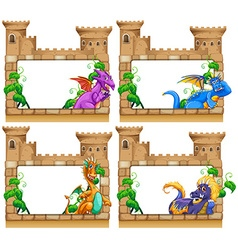 Frame design with dragon and castle vector image