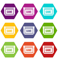 Game cartridge icon set color hexahedron vector