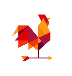 geometric rooster tech colorful logo icon vector image