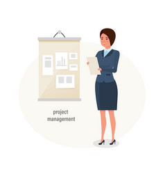 girl office worker engaged project management vector image