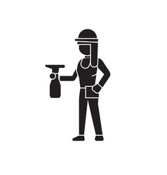 girl with a sprayer black concept icon vector image